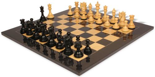 "Marengo Staunton Chess Set Ebony & Boxwood Pieces with Black & Ash Burl Chess Board - 4.25"" King"