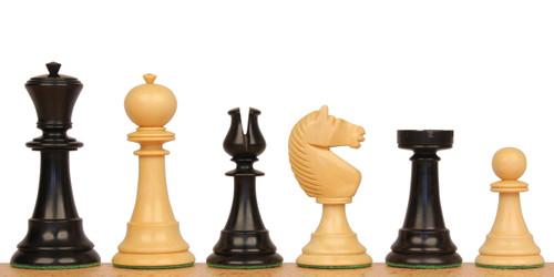 English Upright Antique Reproduction Chess Set Ebonized & Boxwood Pieces