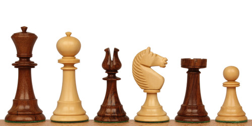 English Upright Antique Reproduction Chess Set Golden Rosewood & Boxwood Pieces