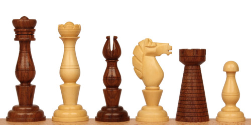Grand Cigar Divan Antique Reproduction Chess Set Golden Rosewood & Boxwood Pieces