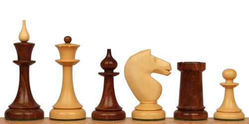 Soviet Era Latvian Antique Reproduction Chess Set Golden Rosewood & Boxwood Pieces