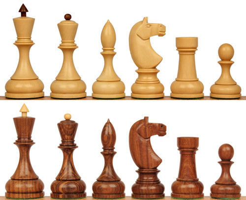 Russian 1940 Antique Reproduction Chess Set Golden Rosewood & Boxwood Pieces