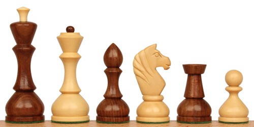 "Russian Playing Set Antique Repro Chess Set Golden Rosewood & Boxwood  - 4.3"" King"