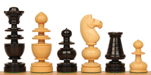 French Regency Antique Reproduction Chess Set Ebony & Boxwood Pieces