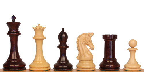 "Imperial Staunton Chess Set in Red Sandalwood & Boxwood - 6"" King"