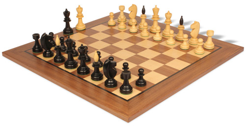 Hungarian Antique Reproduction Chess Set Ebonized & Boxwood with Classic Walnut Chess Board