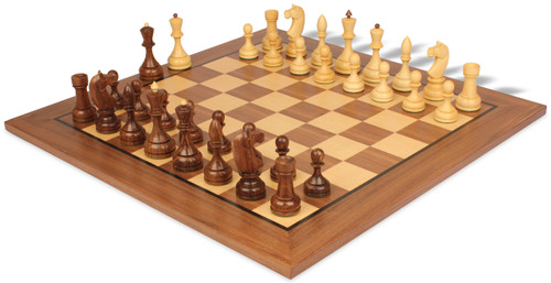 Russian 1940 Antique Reproduction Chess Set Golden Rosewood & Boxwood with Walnut Classic Chess Board