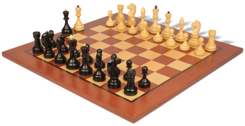 Russian 1940 Antique Reproduction Chess Set Ebonized & Boxwood with Classic Mahogany Chess Board