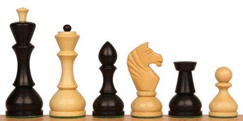 Russian Playing Set Antique Reproduction Chess Set Ebonized & Natural Boxwood with Walnut Classic Chess Board