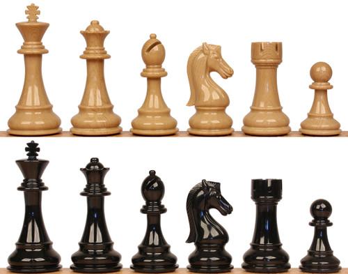 "Spruce Tek Resin Black & Wood Grain Chess Pieces - 4.25"" King"
