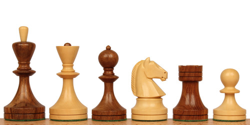 Soviet Era Russian Antique Reproduction Chess Set Golden Rosewood and Boxwood Chess Pieces