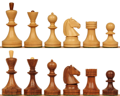 Soviet Era Russian Antique Reproduction Chess Set Golden Rosewood & Boxwood Pieces