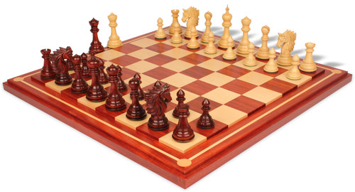 Bucephalus Staunton Chess Set in Padauk & Boxwood with Padauk & Maple Mission Craft Chess Board