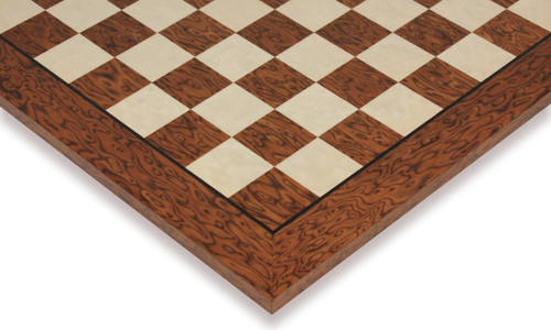 """Brown Ash Burl & Erable High Gloss Deluxe Chess Board - 1.75"""" Squares"""