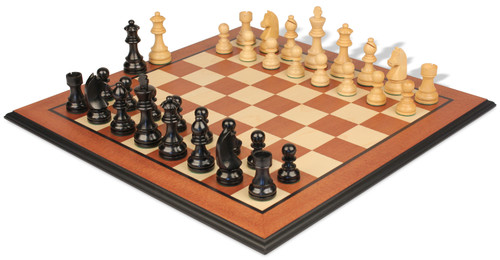 "German Knight Staunton Chess Set Ebonized & Boxwood Pieces with Mahogany Molded Edge Chess Board - 2.75"" King"
