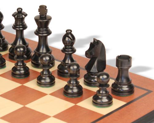 "German Knight Staunton Chess Set Ebonized & Boxwood Pieces with Mahogany Molded Edge Chess Board - 2.75"" King"