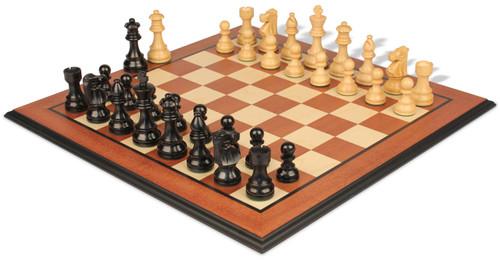 "French Lardy Staunton Chess Set Ebonized & Boxwood Pieces with Mahogany Molded Edge Chess Board - 3.25"" King"