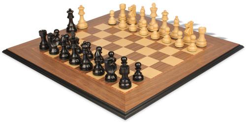 "French Lardy Staunton Chess Set Ebonized & Boxwood Pieces with Walnut Molded Edge Chess Board - 3.75"" King"