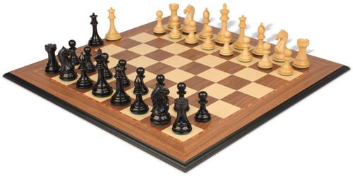 "Fierce Knight Staunton Chess Set Ebony & Boxwood Pieces with Walnut Molded Edge Chess Board - 3"" King"