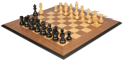 "German Knight Staunton Chess Set Ebonized & Boxwood Pieces with Walnut Molded Edge Chess Board - 3.25"" King"