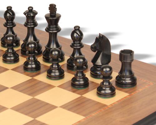 "German Knight Staunton Chess Set Ebonized & Boxwood Pieces Walnut Molded Chess Board - 2.75"" King"