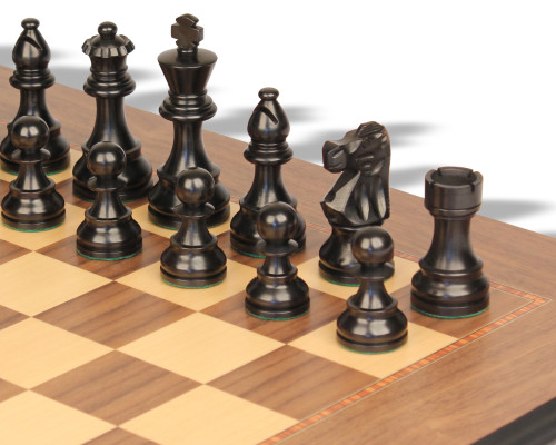 "French Lardy Staunton Chess Set Ebonized & Boxwood Pieces with Walnut Molded Edge Chess Board - 2.75"" King"
