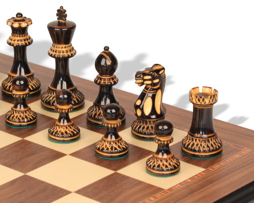 """Parker Staunton Chess Set Burnt Boxwood Pieces with Walnut Molded Chess Board - 3.75"""" King"""