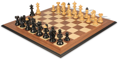 """Vienna Coffee House Antique Reproduction Chess Set High Gloss Black & Boxwood Pieces with Walnut Molded Chess Board - 4"""" King"""