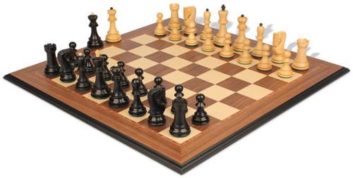 "Yugoslavia Staunton Chess Set Ebonized & Boxwood Pieces with Walnut Molded Chess Board - 3.25"" King"