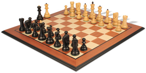 "Yugoslavia Staunton Chess Set Ebonized & Boxwood Pieces with Mahogany Molded Chess Board - 3.875"" King"