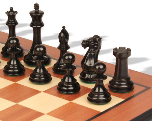 "New Exclusive Staunton Chess Set Ebonized & Boxwood Pieces with Mahogany Molded Chess Board - 3"" King"