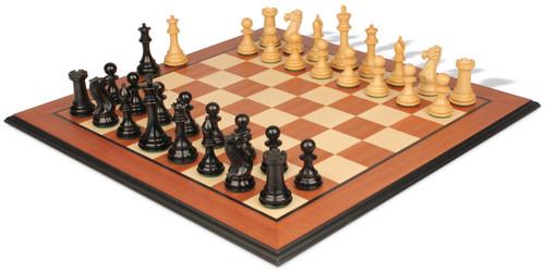 "New Exclusive Staunton Chess Set Ebonized & Boxwood Pieces with Mahogany Molded Chess Board - 3.5"" King"
