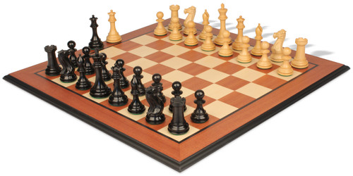 "New Exclusive Staunton Chess Set Ebony & Boxwood Pieces with Mahogany Molded Chess Board - 4"" King"