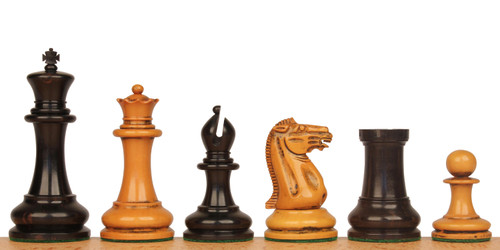 "1849 Heirloom Staunton Chess Set Ebony & Distressed Boxwood Pieces - 4.4"" King"