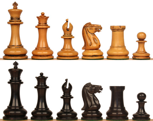 "1849 Heirloom Staunton Chess Set Ebony & Distressed Boxwood Pieces - 4.4"" King"