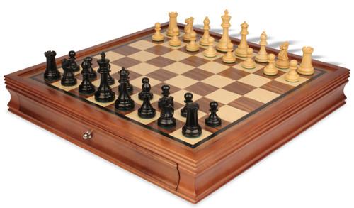 "British Staunton Chess Set in Eboninzed-Boxwood with Walnut Chess Case - 3.5"" King"