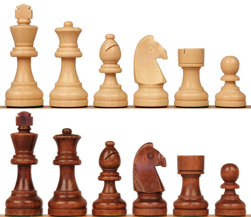 """The Rustic Staunton Chess Set Brown & Natural Wood Pieces - 3.5"""" King"""