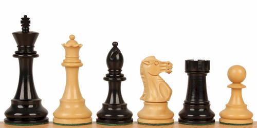 "British Staunton Chess Set Ebony and Boxwood Pieces 4"" King"