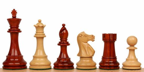 "British Staunton Chess Set Padauk and Boxwood Pieces 4"" King"