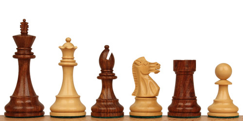 "British Staunton Chess Set Golden Rosewood and Boxwood Pieces 3.5"" King"