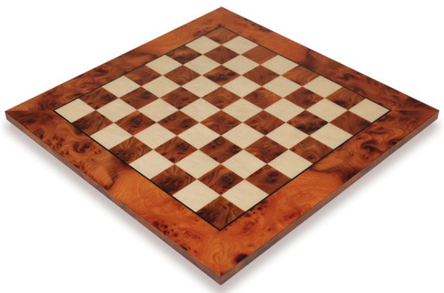 """Elm Burl & Maple Deluxe Chess Board - 1.5"""" Squares"""