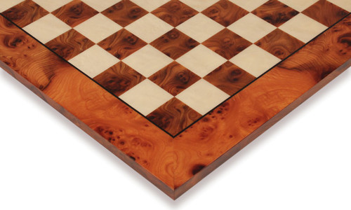 "Elm Burl & Maple Deluxe Chess Board - 1.5"" Squares"