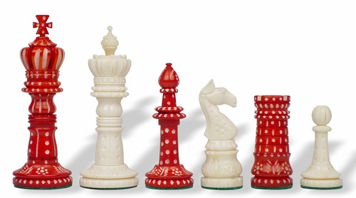 Crowned Domed Decorative Bone Chess Pieces