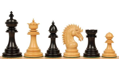 "Cyrus Staunton Chess Set Ebony and Boxwood Pieces 4.4"" King"