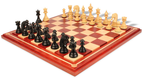 Cyrus Staunton Chess Set Ebony & Boxwood Pieces with Padauk Maple Mission Craft Chess Board