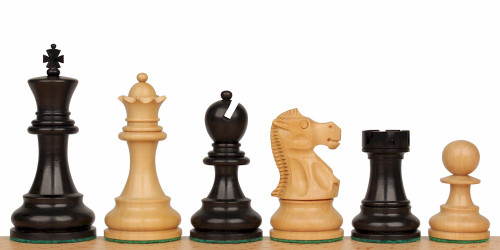 "Deluxe Old Club Staunton Chess Set Ebonized and Natural Boxwood Pieces 3.75"" King"