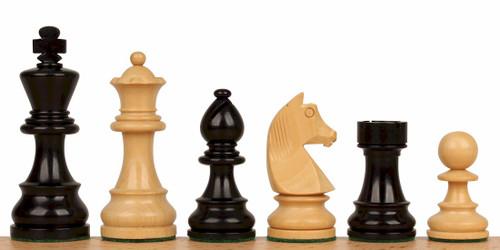 "German Knight Staunton Chess Set Ebonized and Natural Boxwood Pieces 2.75"" King"
