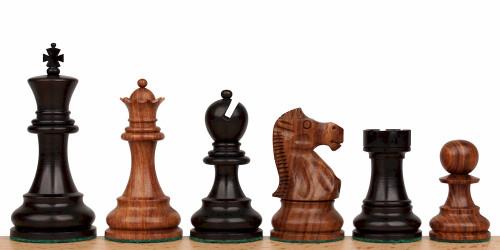 "Deluxe Old Club Staunton Chess Set in Ebonized Boxwood & Golden Rosewood - 3.75"" King"