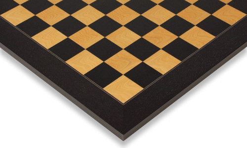 "Black & Ash Burl High Gloss Deluxe Chess Board 2"" Squares"