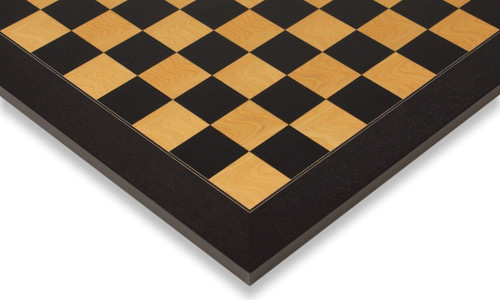 """Black & Ash Burl High Gloss Deluxe Chess Board 2.375"""" Squares"""